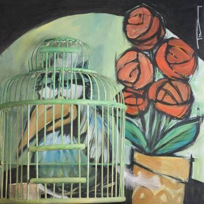 Bird in Cage with Potted Plant-Tim Nyberg-Giclee Print