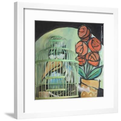 Bird in Cage with Potted Plant-Tim Nyberg-Framed Giclee Print