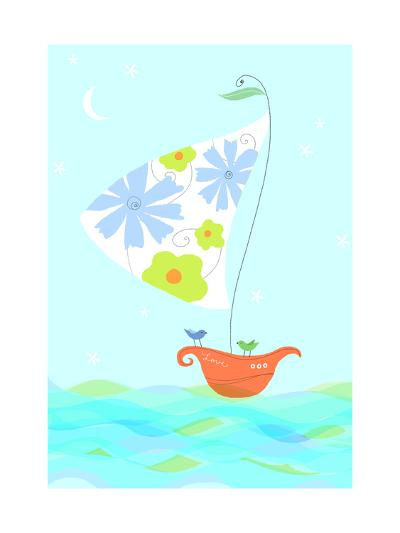 Bird in Sailboat--Art Print