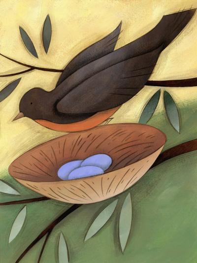 Bird Landing on Nest with Eggs--Photo
