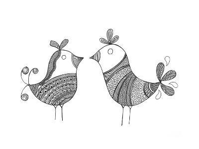 Bird Love Birds-Neeti Goswami-Art Print
