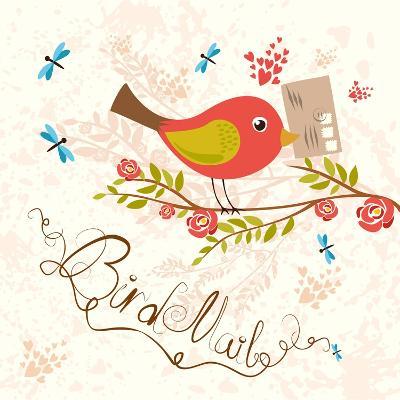 Bird-Mail. Postcrossing Cheerful. Cute Bird with Letter. Spring Mood.- lesyaskripak-Art Print