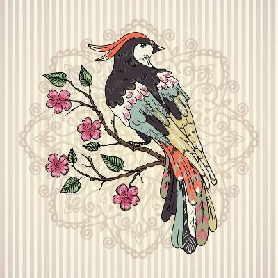 Bird on a Branch Vector Illustration. Mandala on a Background.-Maria Sem-Art Print