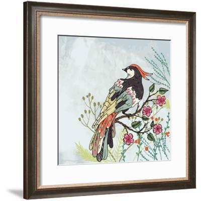 Bird on a Branch Vector Illustration-Maria Sem-Framed Premium Giclee Print