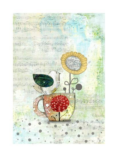 Bird on a Tea Cup-Sarah Ogren-Art Print