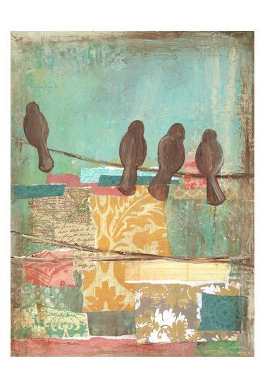 Bird on Wire Collage 4-Erin Butson-Art Print