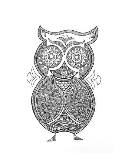 Bird Owl 1-Neeti Goswami-Art Print