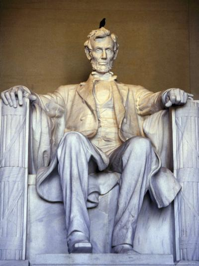 Bird Perches on Abraham Lincoln's Statue Inside the Lincoln Memorial-Rex Stucky-Photographic Print