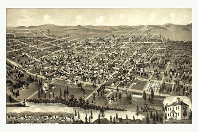Bird's Eye View of Cheney, Wash. Ter., County Seat of Spokane County. 1884, USA, America--Giclee Print