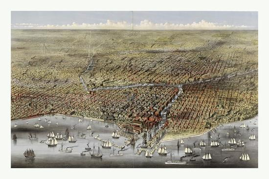 Bird's Eye View of Chicago, Illinois from Above Lake Michigan, Circa 1874, USA, America-Currier & Ives-Giclee Print