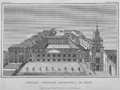 Bird's-Eye View of Christ's Hospital as it Was in 1720, City of London, 1829--Giclee Print