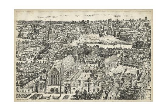 Bird's Eye View of London - Ely Place-0 Unknown-Art Print