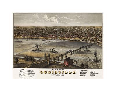 Bird?s Eye View of Louisville, Kentucky, 1876-A^ Ruger-Art Print