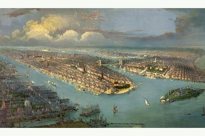 Bird's Eye View of New York City with the Hudson River and the New Jersey Waterfront on the Left--Giclee Print