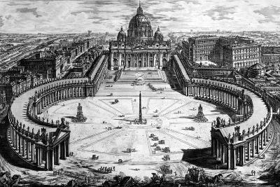 Bird's-Eye View of St. Peter's Basilica and Piazza, Form the 'Views of Rome' Series, C.1760-Giovanni Battista Piranesi-Giclee Print