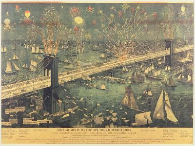 Bird'S-Eye View of the Great New York and Brooklyn Bridge and the Grand Display of Fireworks on Ope--Giclee Print