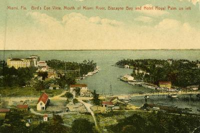 Bird's Eye View of the Mouth of the Miami River, Biscayne Bay and Hotel Royal Palm on Left, C.1910--Giclee Print