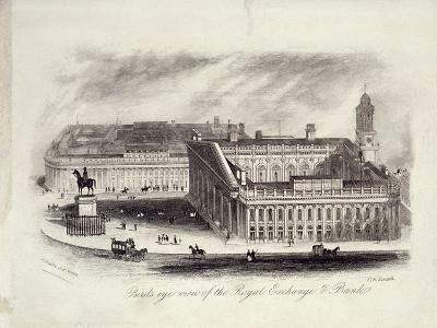 Bird's-Eye View of the Royal Exchange, London, C1860--Giclee Print
