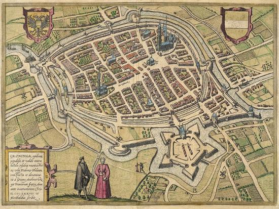 Bird's-Eye View Plan of Groningen 1577- Braun & Hogenberg-Giclee Print