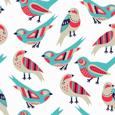 Bird Seamless Pattern- Texturis-Art Print