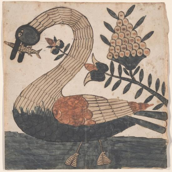 Bird with Fish, Fraktur Painting, C.1810--Giclee Print