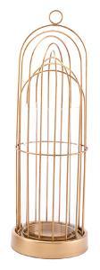 Birdcage Candle Holder Lg Gold