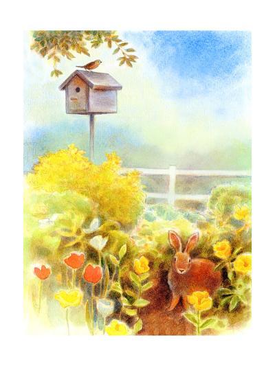 Birdhouse and Bunny in Garden--Art Print