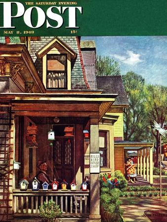 """Birdhouse Builder,"" Saturday Evening Post Cover, May 8, 1948-John Falter-Giclee Print"