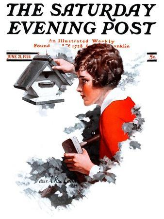 """""""Birdhouse,"""" Saturday Evening Post Cover, June 21, 1924-Charles A. MacLellan-Giclee Print"""