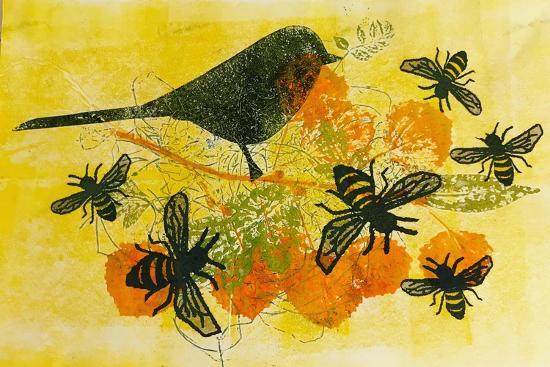 Birds and bees-Sarah Thompson-Engels-Giclee Print
