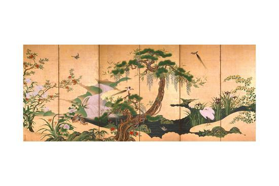 Birds and Flowers of Spring and Summer, Second Half of the 17th C-Kano Eino-Giclee Print