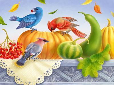 Birds and Pumpkins-Olga Kovaleva-Giclee Print