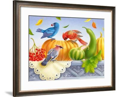 Birds and Pumpkins-Olga Kovaleva-Framed Giclee Print