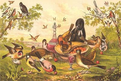 Birds at Abandoned Picnic--Art Print