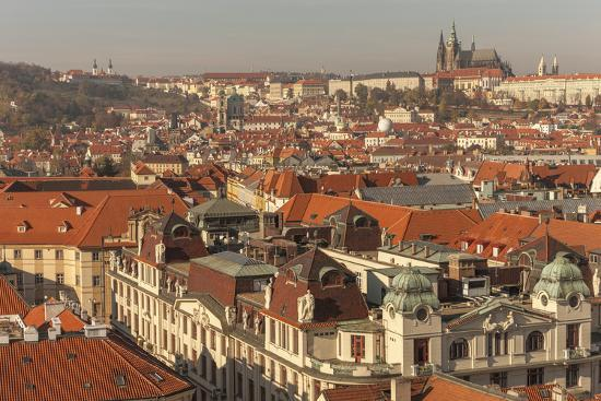 Birds Eye View from Old Town Square. Church of Our Lady of Tryn. Prague. Czech Republic-Tom Norring-Photographic Print