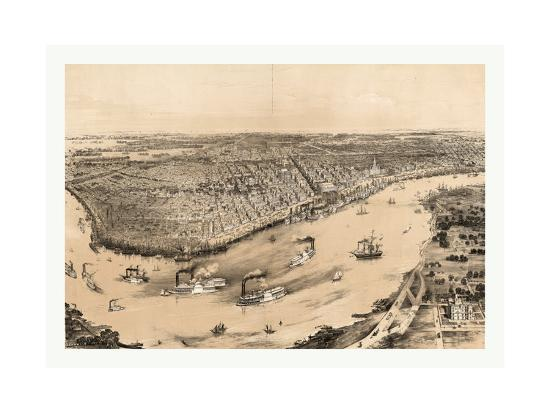 Birds' Eye View of New Orleans Drawn from Nature on Stone, Circa 1851, USA, America-John Bachmann-Giclee Print
