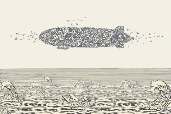 Birds Flock in Zeppelin Formation above the Sea-RYGER-Art Print