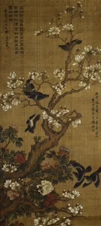 Birds in Flight and Perched on Blossoming Magnolia Branches