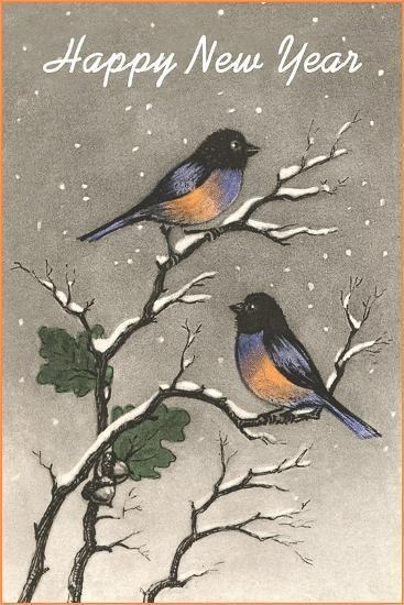 Birds in Snow--Art Print