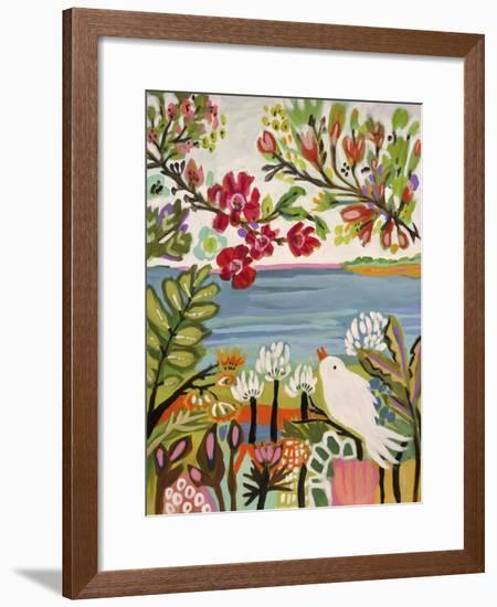 Birds in the Garden II-Karen  Fields-Framed Art Print