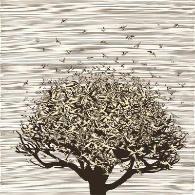 Birds like Leaves on a Tree-RYGER-Art Print