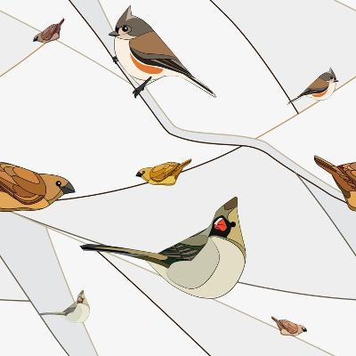 Birds on a Branch. Seamless Pattern.- viknik-Art Print