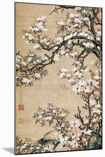 Birds on Aronia Branch-Jakuchu Ito-Mounted Premium Giclee Print