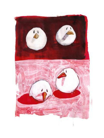 Birds on Black and White on Red-Thomas MacGregor-Giclee Print