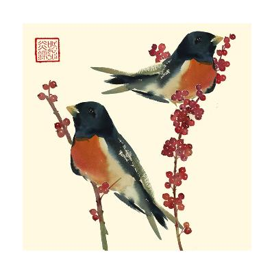Birds on Branches Staring off--Art Print