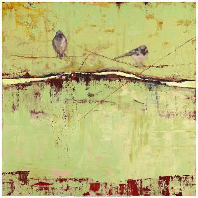 Birds on Horizon in Green-Janice Sugg-Art Print