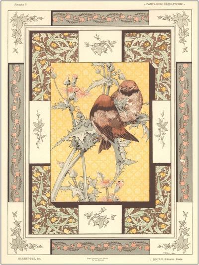 Birds on Thistle Plant--Art Print