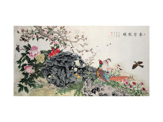Birds, Peacock and Flowers in Spring-Hsi-Tsun Chang-Giclee Print