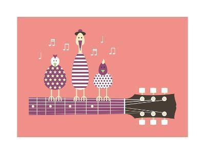 Birds Sing to the Guitar Neck, Vector Cartoon Illustration, Flat Design-Ladislav Krajca-Art Print