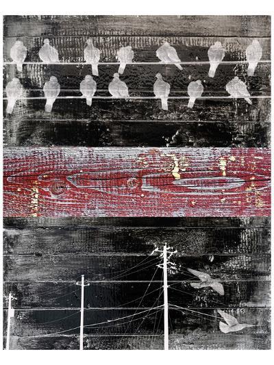 Birds sitting on Wires III-Irena Orlov-Art Print